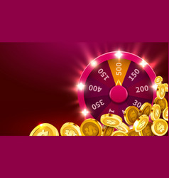 Wheel luck or fortune with falling coins vector