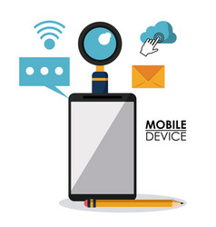 white background poster of mobile device with vector image