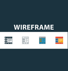 Wireframe icon set four simple symbols in vector