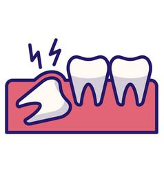 Wisdom tooth linecolor vector