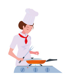 Woman chef food preparation cooking vector