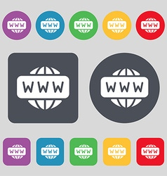 WWW icon sign A set of 12 colored buttons Flat vector image