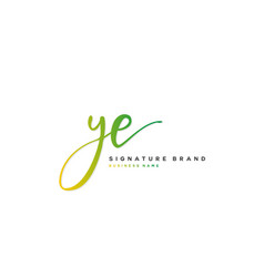 Y e ye initial letter handwriting and signature vector