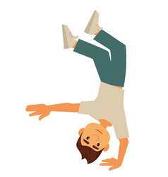 Young breakdancer stands up-side down on one hand vector