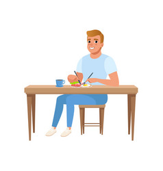 Young man having breakfast people activity daily vector