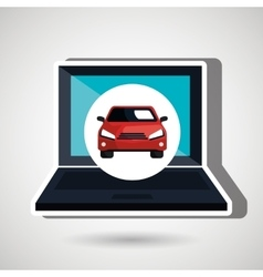 car in display laptop isolated icon design vector image
