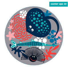 cartoon fish circle vector image