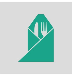 Fork and knife wrapped napkin icon vector image vector image