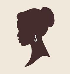 silhouette of beautiful elegant african woman in vector image