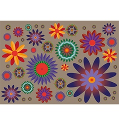 Various sizes of colorful flowers pattern vector image vector image