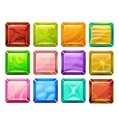 Cartoon square buttons set vector
