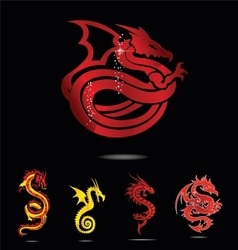 elegance asia dragon set isolated vector image vector image