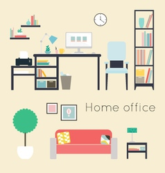 Home office Furniture and Accessories vector image vector image