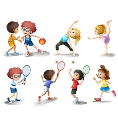 Kids exercising and playing different sports vector image vector image