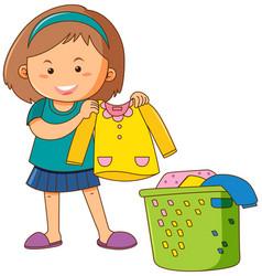 little girl doing laundry vector image