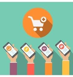 Mobile online shopping apps in flat design hands vector