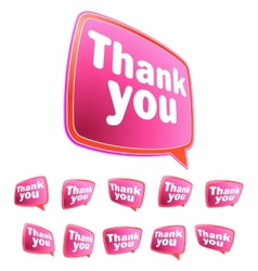 Thank you message stickers set EPS8 vector image