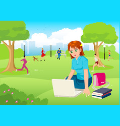 girl working with lap top in the city park vector image
