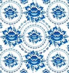 Gzhel Seamless ornament pattern with blue flowers vector image vector image