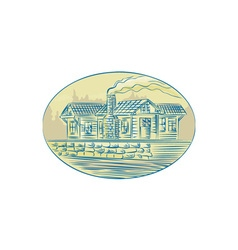 Log Cabin Resort Oval Etching vector image vector image