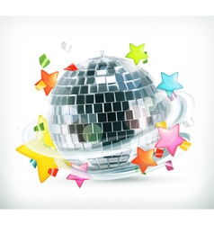 Party stars and disco ball icons vector image