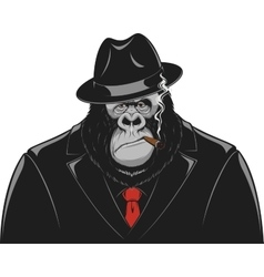 Monkey in a suit gangster vector