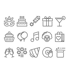 party and birthday line icon vector image