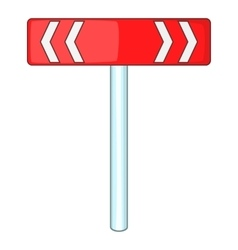 Red road sign direction pointer icon cartoon style vector