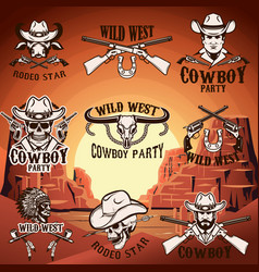 set of wild west emblems on background with vector image vector image