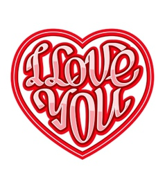 Short phrase I Love You inscribed in a heart shape vector image vector image