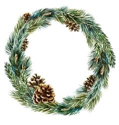 watercolor christmas wreath vector image