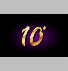 10 ten number numeral digit golden 3d logo icon vector