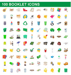 100 booklet icons set cartoon style vector image