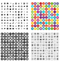 100 leisure icons set variant vector image