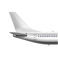 3d blank glossy white airplane or airliner tail vector