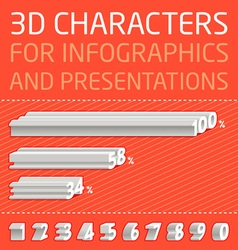 3D Numbers for infographics vector