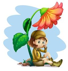 An adventurer under the shade of a flower vector