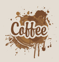 banner with coffee stains and splashes vector image