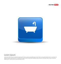 bath tub icon - 3d blue button vector image