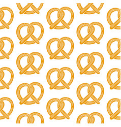 bavarian pretzels on white backdrop seamless vector image