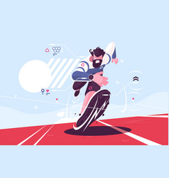 bearded dude running fast on stadium vector image