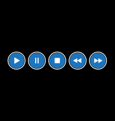 Blue white round music control buttons set vector