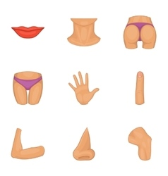 Body icons set cartoon style vector