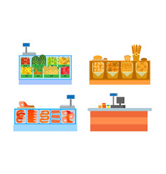Butchers and bakery departments isolated vector