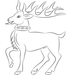 cartoon deer contour on white background vector image