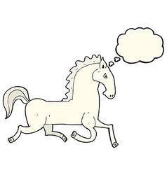 cartoon running white stallion with thought bubble vector image