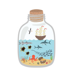 cartoon underwater world in a bottle fish sharks vector image