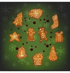 Christmas gingerbread for Xmas decoration vector