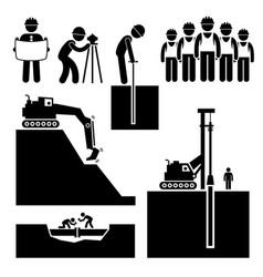 construction civil engineering earthworks worker vector image