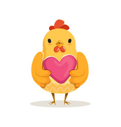 Cute cartoon chicken standing and holding pink vector